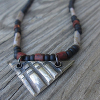Eco Friendly Geometric Silver Pendant , Metal Clay Necklace , Faux Bone , Rustic Beads , Black White Red , Unisex , For him