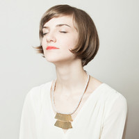 Double Shake Hand Braided Brass Necklace