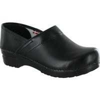 Sanita Women's Professional Clogs PU Leather Black -The Original Danish Clogs Since 1907