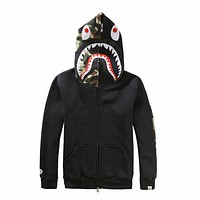 Bape Popular Women Men Zipper Shark Print Hoodies Unisex Sweater Coat I