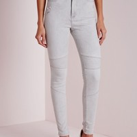 Missguided - High Waisted Skinny Ripped Biker Jean Grey