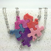 Set of 5 puzzle pendants Multi color, with swirl stamping