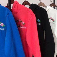 GUCCI - Louis Vuitton - Christian Dior - Versace -  Calvin Klein - Champion Flower Rose Embroidered Sweater Hoodie Pullover