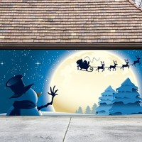 Christmas Garage Door Cover Banners 3d Santa In A Sleigh Snowman Holiday Outside Decorations Outdoor Decor for Garage Door G40