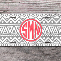 Front License Plate Gray Aztec pattern with Coral monogram personalized car tag, vanity license plate - 310
