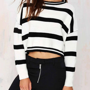 White Stripe Crop Top with Long Sleeves