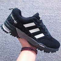 Alwayn ADIDAS Fashion Women Men Sports Shoes Colorful Line Sneakers Black White