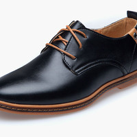 NEW 2015 Hot Men Genuine Leather Shoes EU Style Flats Sapatos for Men Lace-Up plus Size Casual Shoes Male Oxford Shoes