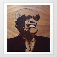 Ray Charles marquetry Art Print by Andulino