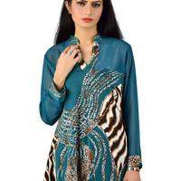 Women's Top Made up of Chiffon Body & Wild Cat with Chiffon Sleeves.