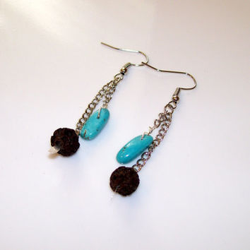 AROMA THERAPY Earrings, Essential Oil Diffuser Earrings, Lava Rock Silver & Turquoise Dangle Earrings, Perfume Diffuser, OOAK Handmade Gift