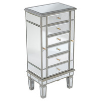 Kat Mirrored Jewelry Cabinet, Silver, Chest of Drawers