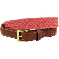 Michael McDonald Woven Cotton Leather Tab Belt in Nantucket Red by Country Club Prep