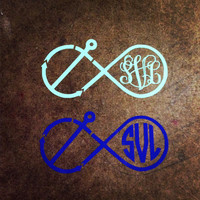 4 inch Anchor Monogram Infinity Sign Vine or Circle