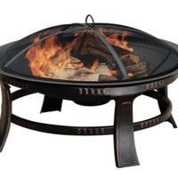 Portable Circular Fire Pit With Ash Catcher Patio Furniture Rubbed Bronze Finish
