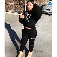 Champion Fashion New Letter Print Hooded Sports Leisure Long Sleeve Top And Pants Two Piece Suit Black