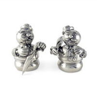 Pewter Snowmen Salt and Pepper Shaker Set