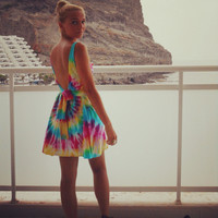 Tie dye dress low back summer holiday 8 10 12