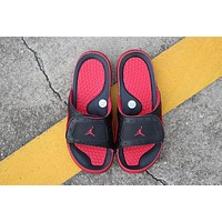 Nike Air Jordan 13 Black Red Men Women Slipper Sandals