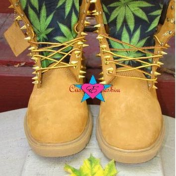 Custom Spiked Timberland Green Leaf Weed Boots