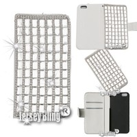 BLING Swarovski & Czech Crystal Jersey Bling® Faux Leather iPhone 5, 5s Handmade Case Wallet w/Cards & ID Slot & Magnetic Closure