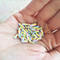 Petite Tiny Decoden Sweets Mini Pastel Rainbow Marshmallow Polymer Clay Pieces - 25 pc