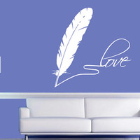 Love Note Wall Decal - Feather Pen - Home Decor - Gift Idea - Living Room - Bedroom - Office - Dorm - High Quality Vinyl Graphic