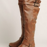 Plateau Knee-High Boots In Cognac