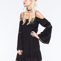 Patrons Of Peace Cold Shoulder Dress Black  In Sizes