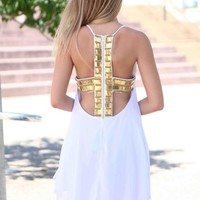 White Sleeveless Dress with Gold Beaded Cutout Back