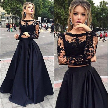 Long New Black Two Pieces Evening Dresses Sheer Long Sleeves Lace Top Satin A line Prom Party Gown
