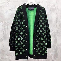 LV Louis Vuitton New fashion monogram print high quality long sleeve coat cardigan women