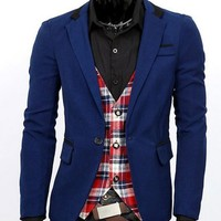 Mens Slim Fit Stylish Casual One Button Suit Coat Jacket Blazers
