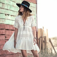 Casual Loose Fit Summer Dress women white cotton mini dresses Vneck embroidery Lace fashion bohemian style hippy gypsy girl new
