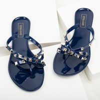 Bow Navy Studded Jelly Sandals