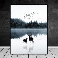 Nordic canvas painting deer Picture Wall art wall  art canvas Picture decor poster art print canvas Wall Picture no frame
