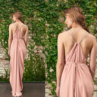 Blush Bridesmaid Dress, Grecian Gown, Grecian Bridesmaids Dress, Bridesmaids Dresses