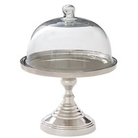 Tall Silver Cake Stand With dome