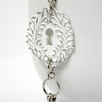 Distressed White Resin Keyhole Pendant with Ring of Keys - Handmade Necklace - Shabby Chic-Style Jewelry - Ready to Ship