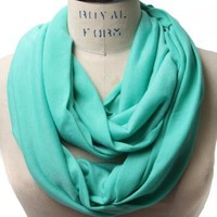 Amazon.com: Scarfand's Light Weight Jersey Infinity Scarf (Mint Blue): Clothing