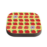 """Jane Smith """"Seasons Summer"""" Yellow Red Coasters (Set of 4)"""