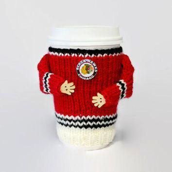CREY2NO Chicago Blackhawks coffee cozy. NHL jersey cup sleeve. Hockey jersey coffee warmer. Ho
