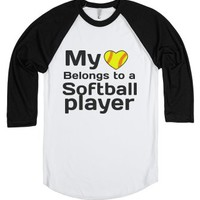 Softball Boyfriend T-Shirt-Unisex White/Black T-Shirt