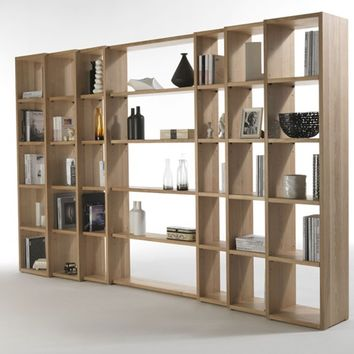 OPEN DOUBLE-SIDED WOODEN BOOKCASE TRIBECA   RIVA 1920