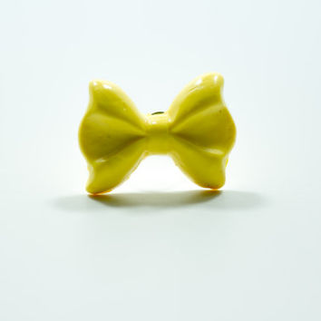 Yellow Bow Ring, Polymer Clay Ring, Bow Ring
