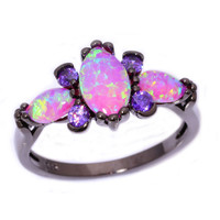 Pink Fire Opal & Amethyst Ring Discounted Price! 10-6-2016 - 11-6-2016