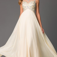 Sleeveless Champagne Gown, Beaded Evening Dress