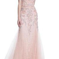 PRIMA 17-20253 Blush Lace Tulle Jeweled Mermaid Prom Dress Evening Gown