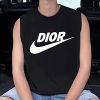 NIKE & Dior Summer New Fashion Letter Print Women Men Vest Top Shirt Black