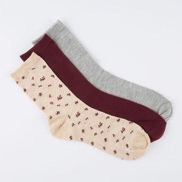 3 Pack Womens Crew Socks Grey Combo One Size For Women 25856556801